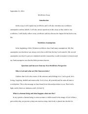 Cwvworldview Essay  Worldview Essay Introduction For This Paper   Pages Worldview Essay Final