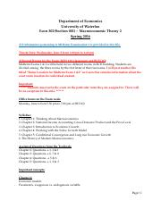 Syllabus, Procedure & Sample Questionnaire for Exam 1