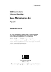core mathametics c4 6666 core c4 june 2005 advanced subsidiary/advanced level in gce mathematics question number scheme marks 8 (a) d d v t is the rate of increase of volume (with respect to time) b1.