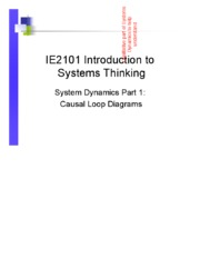 1 IE2101 2015 Systems Dynamics Part 1 Causal Loops