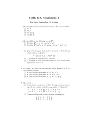 Assignment 1 for MATH 318