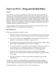BSBWRT401A - Fast Cars R Us - Drug And Alcohol Policy Acticity 3.docx