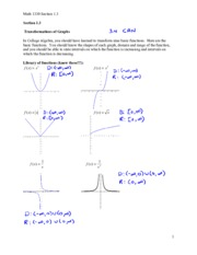 Section 1.3 Notes - Transformation of Graphs