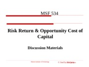 Chp 7 Risk Return and Opportunity Costs of Capital