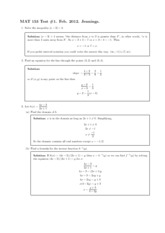 Test 1 Solutions 2012