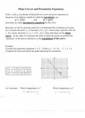 Plane Curves and Parametric Equations Note