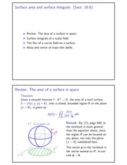 Surface area and surface integrals 3