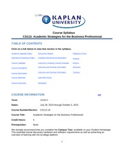 Academic Strategies Syllabus