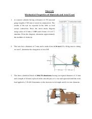 Assignment 2- Mechanical Properties of Materials and Axial Load