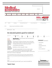 Are educated patients good for medicine_ _ Medical Economics.pdf