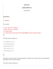 ECON 431 Fall 2012 Assignment 4 Solutions