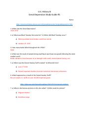 Great Depression Study Guide #1