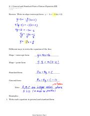 6.1  General and Standard Form of Linear Equation (III)