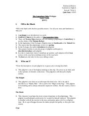Canterbury Tales Prologue Study Guide Key