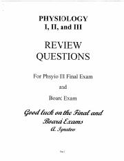 Physio Final Review MCQ Textbook Online