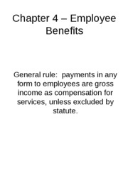 "Chapter 4 â€"" Employee Benefits"