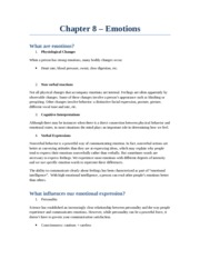 Chapter 8 – intro to comm studies emotions