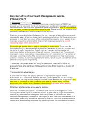 Key Benefits of Contract Management and E-Procurement