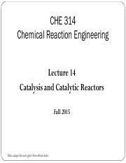 Lecture 14 - Catalysis and Catalytic Reactors (3)