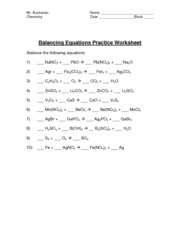 Printables Balancing Equations Practice Worksheet balancing equation worksheet and key chemistry date 2 pages key
