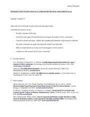 INTRODUCTION TO PSYCHOLOGY LITERATURE REVIEW ASSIGNMENT (1)