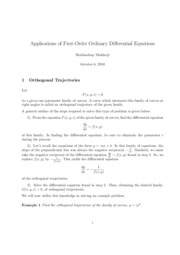 Applications of First Order ODE