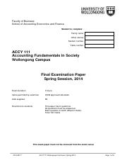 ACCY111 Wollongong Spring 2014 FINAL EXAM