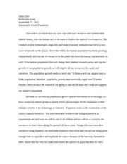 Sustainable World Population Reflection Essay 1