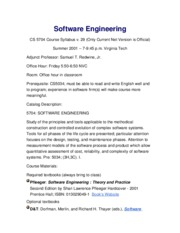 Syllabus Software Engineering v29