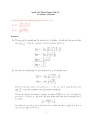 Final Exam Solution on Calculus II Fall 2011