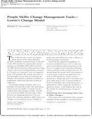 People Skills Change Management Tools - Lewin's Change Model