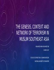 3rd March 2017 Special Guest Lecture Terrorism in SEA by Mr Imran -Genesis and Context of Terrorism