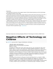 Technology Effects Postive and Negative.doc