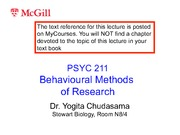 Lecture 6- Behavioural Methods of Research