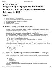 Lecture 7 Parsing Context-Free Grammars
