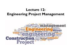 Lecture 13 Engineering Project Management - Section 1