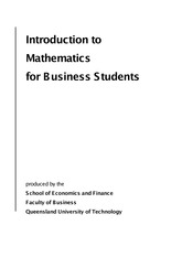QUT Intro To Maths For Business Students