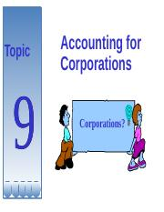 Topic 9-Acc For Corporation