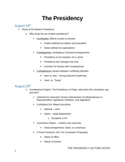 The Presidency-Lecture Notes