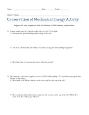 Conservation of Mechanical Energy Activity