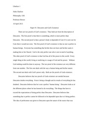 Paper #1- Descartes and God's Existence