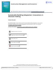 Sustainable Building Adaptation Innovations in Decision making