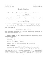 Exam 1 Solution on Advanced Calculus 1
