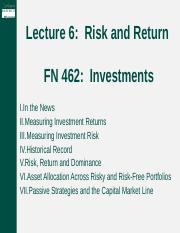 Lecture 6 -- Risk and Return.pptx