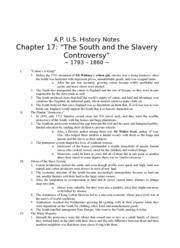 APUS history notes chpt17 The South and the Slavery Controversy