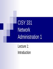 CISY 331 Lecture1 Introduction