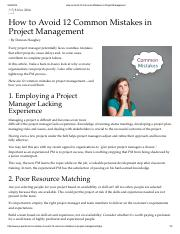 How to Avoid 12 Common Mistakes in Project Management