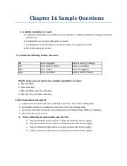 Chapter 16 Sample Questions