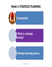 LECTURE 4 STRATEGIC PLANNING (1)