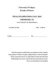 CHEM331 Fall2010 Final Exam